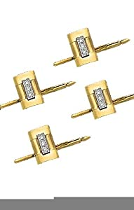 14K Yellow Gold Shirt Stud Set with .16 ct Diamonds-86183