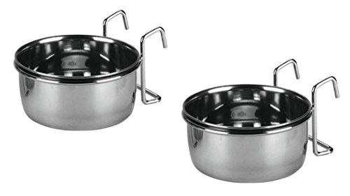 2-x-300-ml-Edelstahlnpfe-zum-Einhngen-fr-Vgel-Nager