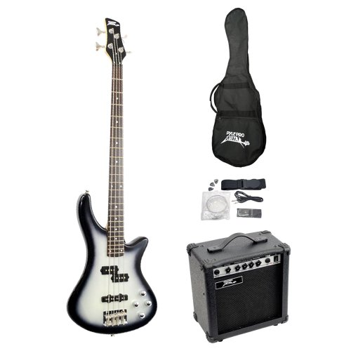 PylePro PGEKT50 Professional Full Size Electric Bass Guitar Package with Amplifier
