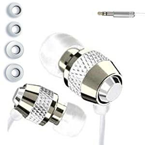 IN EAR EARPHONES HEADPHONE METAL NOISE ISOLATING FOR MP3 IPOD IPHONE 4 5 WHITE