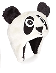 Faux Fur Panda Design Trapper Hat