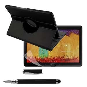 kwmobile 3in1 Set: Hülle 360° für Samsung Galaxy Note 10.1 (2014) Case mit Ständer - Schutzhülle Tablet Tasche mit Standfunktion in Schwarz + Folie, kristallklar + Stylus, Schwarz