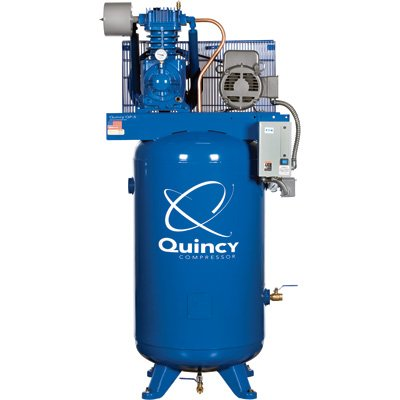 - Quincy QP Pressure Lubricated Reciprocating Compressor - 7.5 HP, 230 Volt, 1 Phase, 80 Gallon Vertical, Model# 371CS80VCA