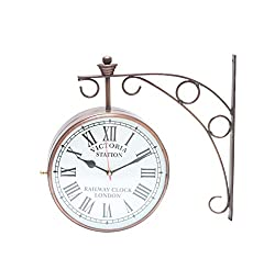 Bazaar Pirates Vintage Style, Old Style, Unique Double Side Antique, Railway Station / Platform Wall Clock ( Bronze ) ( 8