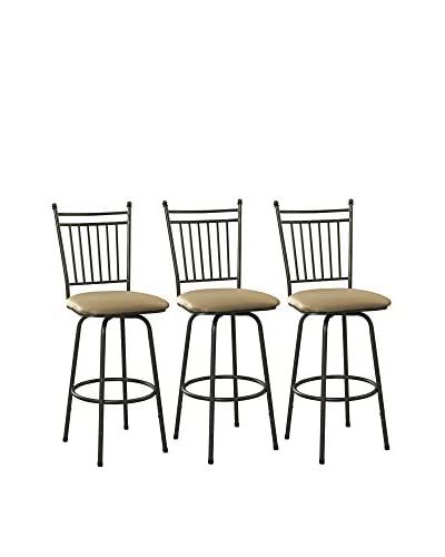 Linon Home Décor Set Of 3 Metal Stools, Brown
