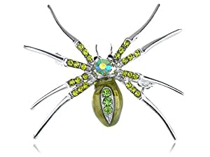 Peridot Crystal Rhinestone Green Belly Enamel Tiny Spider Silver Tone Pin Brooch