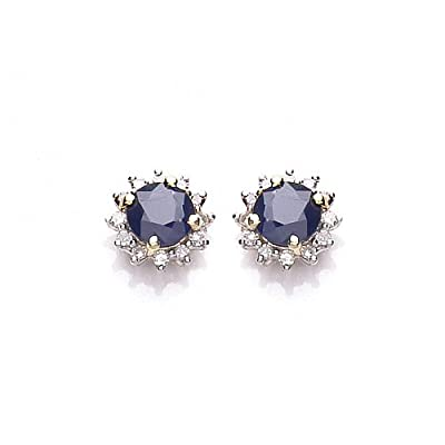 9ct Yellow Gold Sapphire And Diamond Round Stud Earrings