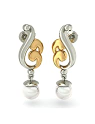 BlueStone 14K White Gold And Pearl Drop Earrings