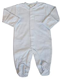 Kissy Kissy Baby Boys\' Stripe L/S Footie -Blue - 6-9 Months