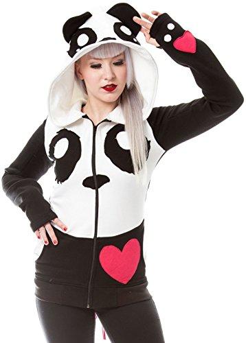 Killer Panda -  Felpa con cappuccio  - Maniche lunghe  - Donna nero L