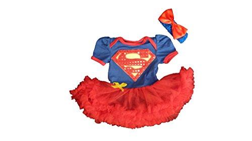 Supergirl Baby bambino ragazza pagliaccetto vestito/costume/costume/partito Blue, Red, Yellow 9 - 12 mesi