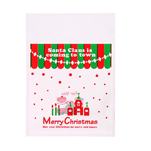 Lot de 100pcs Sachets Pochettes Sac d'emballage pour Cookies Biscuits Bonbons Motif de Noël