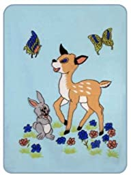 Blue Bunny and Fawn Acrylic Mink Baby Blanket