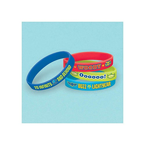 "Amscan Adventurous Toy Story Power Up Rubber Bracelet (4 Piece), Red/Green/Blue, 2 1/2 x 7 /16"" - 1"