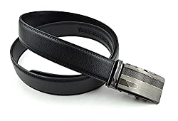 Moda Di Raza- Mens Thatched Slide Buckle Rose Gold Silver Formal Casual Genuine Leather Belt/BLACK-D12