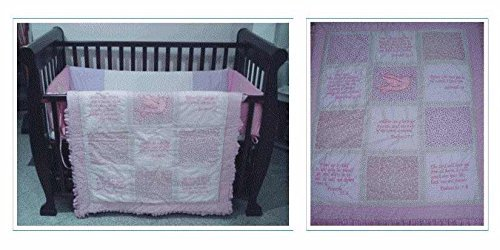 Quilt-Baby Girl w/Scriptures and Dove-Pnk (40 x 45) Color: Pink NewBorn, Kid, Child, Childern, Infant, Baby - 1