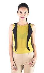 Lady Being Women's Crop Top(CT-SS16-08M_Yellow_Medium)