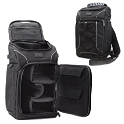 Compact DSLR Backpack Rucksack Bag by USA Gear with Waterproof Rain Cover , Adjustable Lens Storage , Quick Access SLR Pockets , Padded Crossbody Sling Strap - Will hold Canon EOS 100D , 700D , 1200D / Nikon D3200 , D3300 , D7200 , Sony , Pentax , Samsung , Fujifilm & More