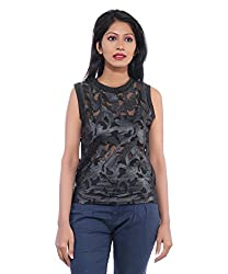Avakasa Polyester Black Embroidered Partywear Sleeveless Sleeves Top (top-23-black)