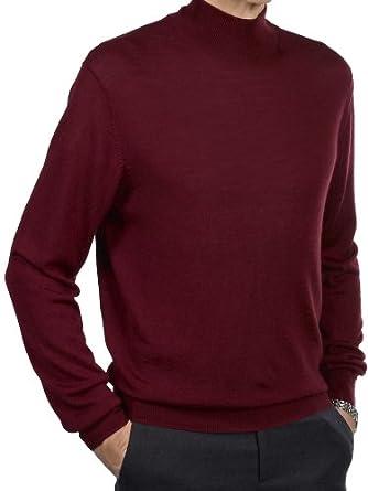 Paul Fredrick Men's Merino Wool Blend Solid Mock Neck Sweater Wine 2xl Tall