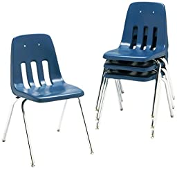 Virco 901851 9000 Series Classroom Chair, 18in Seat Height, Navy/Chrome, Four/carton