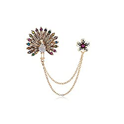 Imported Retro Fashion Royal Peacock Brooch Pin Lapel Boutonniere Party Corsage Pin
