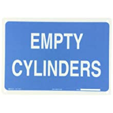 "Brady 70317 14"" Width x 10"" Height B-120 Premium Fiberglass, White on Blue Chemical and Hazardous Materials Sign, Legend ""Empty Cylinders"""