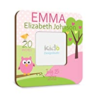 Personalized Baby Girl Picture Frame with Birth Announcement, Pink and Green Nursery Photo Frame, Owl Custom Baby Gift from Kid'O