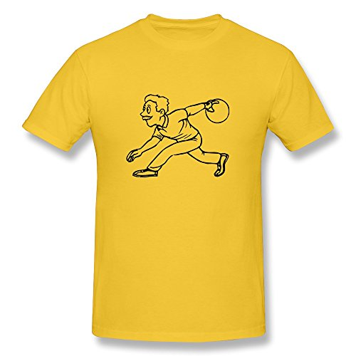 Bowling Ball Man Religion 100% Cotton Yellow Tshirt For Mens Size S