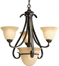 Progress Lighting P4415-77 3-Light Chandelier with Tea Stained Bell-Shaped Glass Bowls and Squared Scrolls and Arms, Forged Bronze