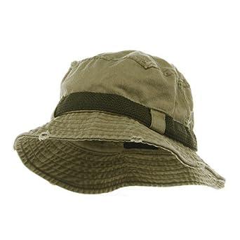 Frayed Cotton Twill Washed Bucket Hat - Khaki M at Amazon ...