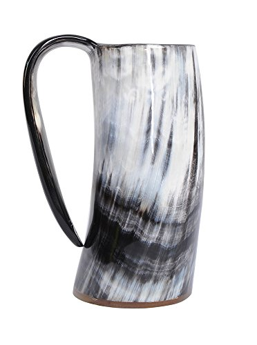 Marycrafts Buffalo Horn Mug Beer Beaker Stein, Tumbler Viking Drinking Cup with Handle Medieval Renaissance (Viking Drinking Cup compare prices)