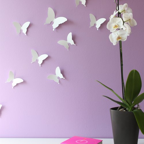Wandkings 3D Style Butterflies in WHITE for wall decoration, 12 PCS in a set with adhesive fixing dots - 1