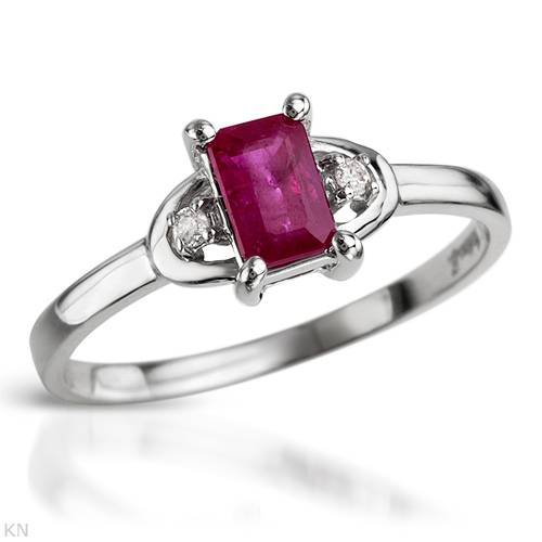Ring With 0.65ctw Precious Stones - Genuine Diamonds and Ruby Beautifully Crafted in White Gold (Size 6.5)