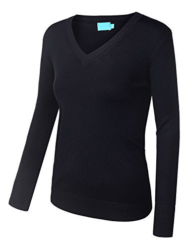 BIADANI Women Long Sleeve V-Neck Solid Ultra Soft Knit Sweater Top Navy Medium
