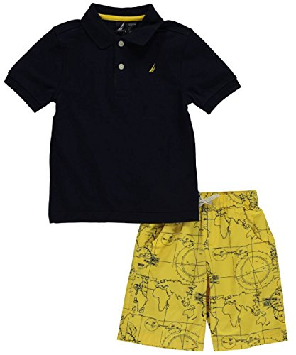 "Nautica Little Boys' Toddler ""Map Shorts"" 2-Piece Outfit - navy, 3t"