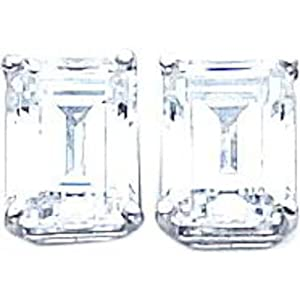 14K White Gold Emerald Cut CZ Earrings Jewelry 9x7mm
