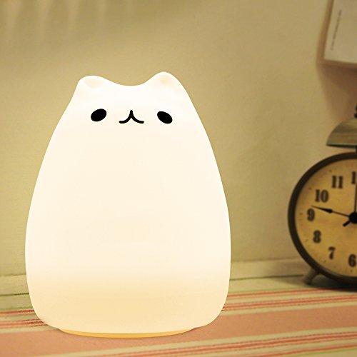 Meicent シリカゲル猫 LED雰囲気七色のグラデーション光 USB充電式寝るとき照明ランプ(1200 mAhの充電式バッテリー、12 時間の作業時間)(人気猫)