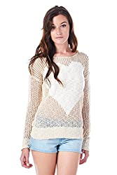[The Classic Brand] Taupe Knitted Heart Sweater Large