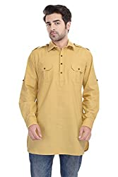 Padam Men's Pathani Kurta_PMKR0021_Yellow_M