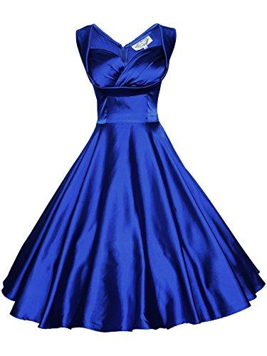 Maggie Tang Women's 1950's 60s Solid Color Vintage Garden Dress 2XL Royal Blue