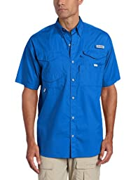 Columbia Men\'s Bonehead Short Sleeve Shirt, Small, Vivid Blue