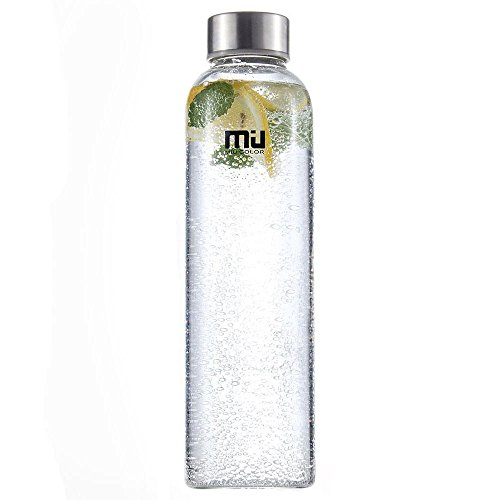 MIU COLOR Borosilicate Glass Water Bottle , 18.5oz without Tea infuser, Red Rose Sleeve (Glass Drinking Water Bottles compare prices)