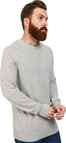 Ben Sherman Men's Check Crew Neck Sweater, Silver Chali, Large