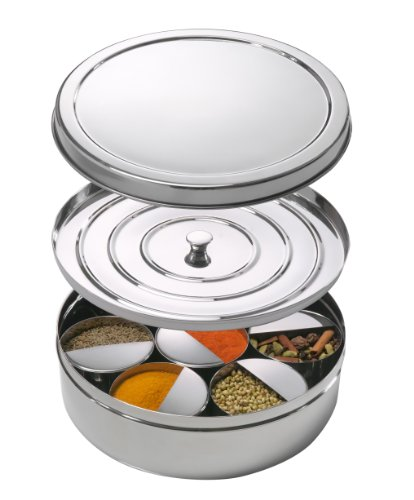 Spice Tiffin Masala Dabba with Spice Levelers in Each Bowl