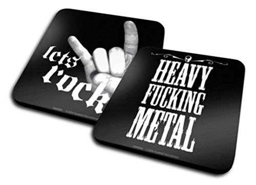 Set di 2 Sottobicchieri: Musica - Heavy Fucking Metal + Let's Rock (10x10 cm)