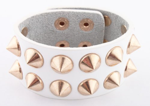 White with Gold Spiked Genuine Leather Adjustable Snap Bracelet