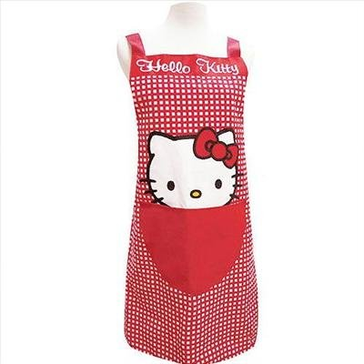 Hello Kitty Cooking Craft Apron Adult Rare RED Checker