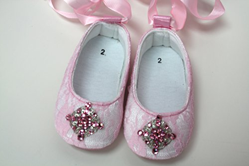 Gorgeous And Stunning Lace Baby Girl Crib Shoes White And Pink (3 Four And 1/2 Inches, White) front-1057923