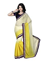 Alethia Yellow Embroidered Pure Chiffon Saree With Unstitched Blouse Piece